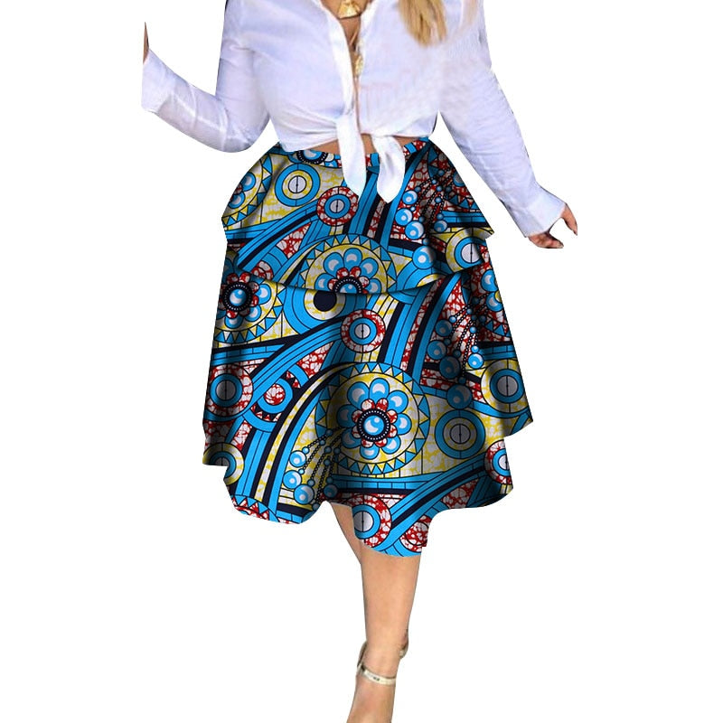 Wax Print Skirts for Women Bazin Riche Cotton Mini Skirts