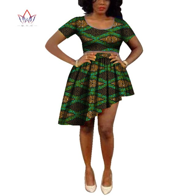 Dashiki Bazin Riche Fashion Causal Crop Top and Skirts of Summer Traditional Print O Neck