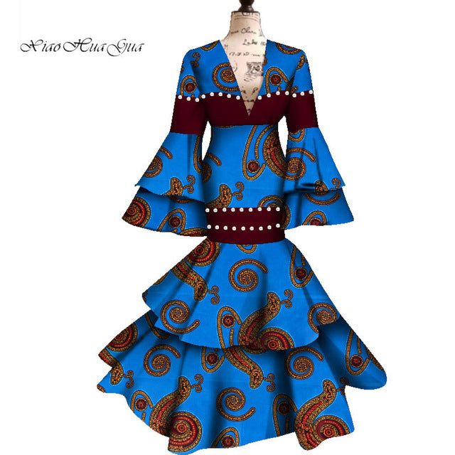 Ankara Wax Fabric Long Flare Sleeve Maxi Mermaid Dress