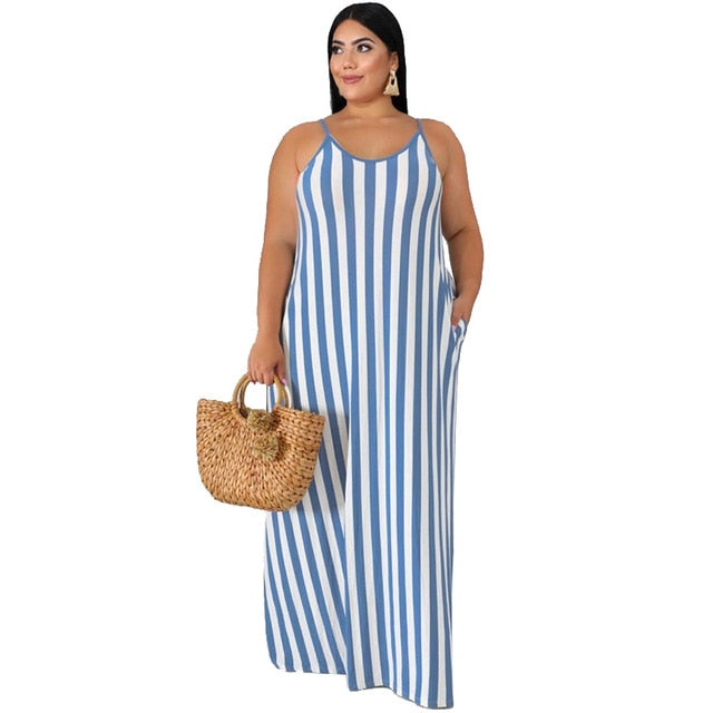 Loose Stripe Print Spaghetti Strap Maxi Dress Backless
