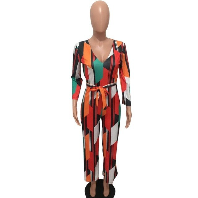 Colorful Print Striped Loose Jumpsuit Women Long Sleeve V-Neck Party Bodysuits
