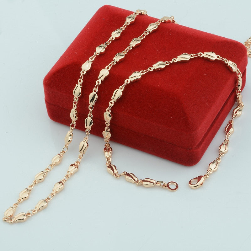 1 Set 4mm Rose Plant Woman Girls Gift 585 Rose Gold Color Set Jewelry Bracelet Necklace(NO red box)