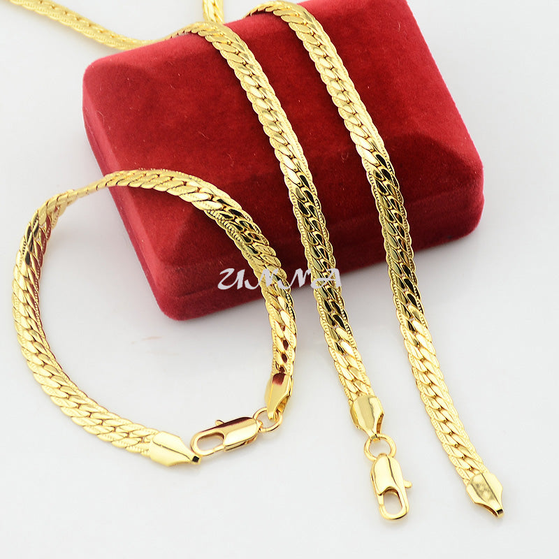 6mm Fashion Set Jewelry Yellow Gold Color Herringbone Snake Necklace Chains Bracelet Set