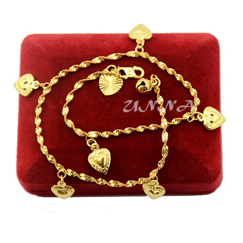 Yellow Gold Filled Anklets Foot Bracelets Heart Charm Gold Anklet Wave Chains