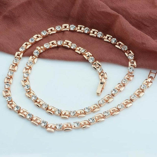 5MM 8 Color 50cm Women 585 Rose Gold Color Chain Cubic ZIrcon White Green Stonet Necklace