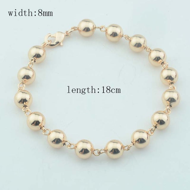 6mm 8mm Wide Women Necklace Men 585 Rose Gold Color Round Beaded Chains Long Short (No red box)