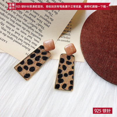 New Autumn Fashion Sexy Leopard Geometric Square Heart Drop Earrings