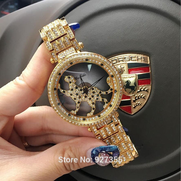 3 Colors Women Watch Stainless Steel Watches Lady leopard Rotation Dress Watch Big Diamond Stone