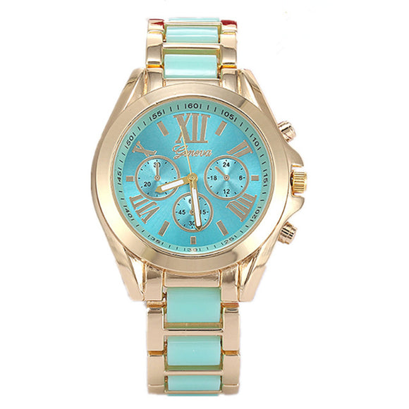 Geneva Ceramic Watch Women Dress Watch Gold Casual Wristwatches