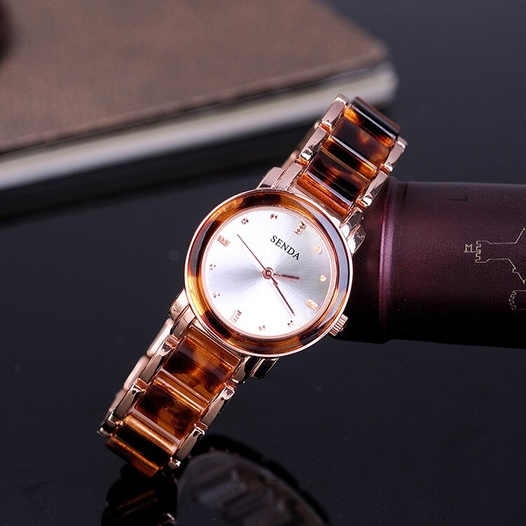 European Sexy Leopard Resin Bracelet Watches for Women Quartz Wristwatch Analog
