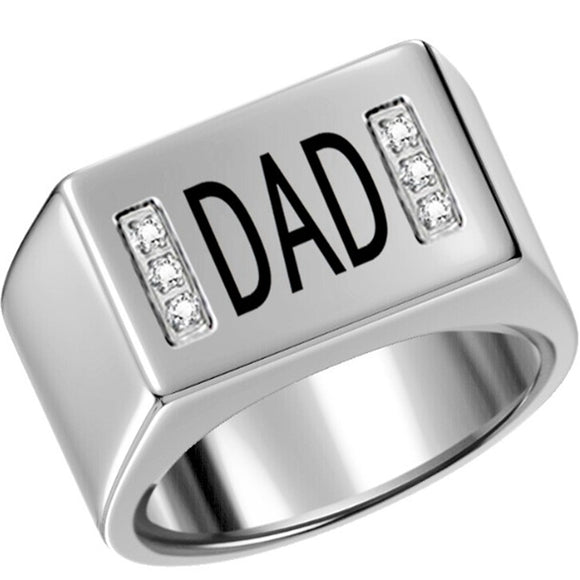 Size 7-15  Stainless Steel Dad Father Ring Wedding Graduation Day Birthday Ring