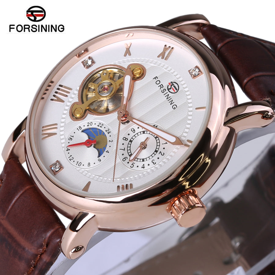 Fashion Luxury Series Design Rose Golden Case Mens Watches Diamond Display Automatic Watc