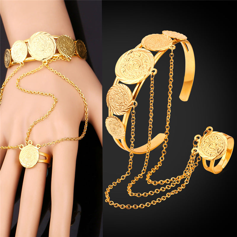 Coin Hand Chain Ring Bracelet Set For Men/Women Arab Money Sign Bracelet Ring