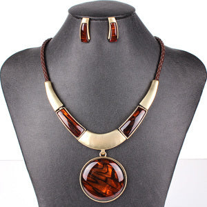 MS20129 Fashion Brand Jewelry Sets Round Pendant 5 Colors Faux Leather Rope
