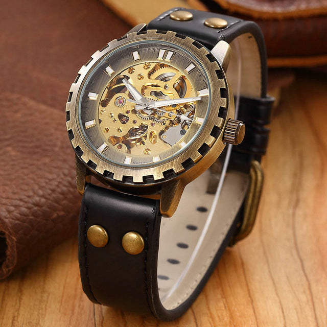 Leather male military clock automatic Skeleton mechanical self wind - Bara Jan Store