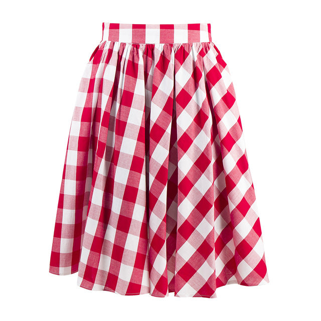 50s 60s Circle Swing Red White Plaid Checked Gingham Skirt Cotton Elegant Knee-Length