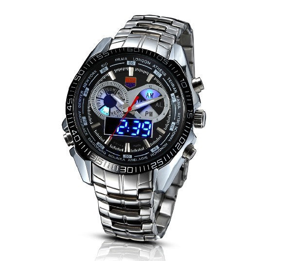 TVG Stainless Steel Luxury Fashion Black Digital Watch LED dual time - Bara Jan Store