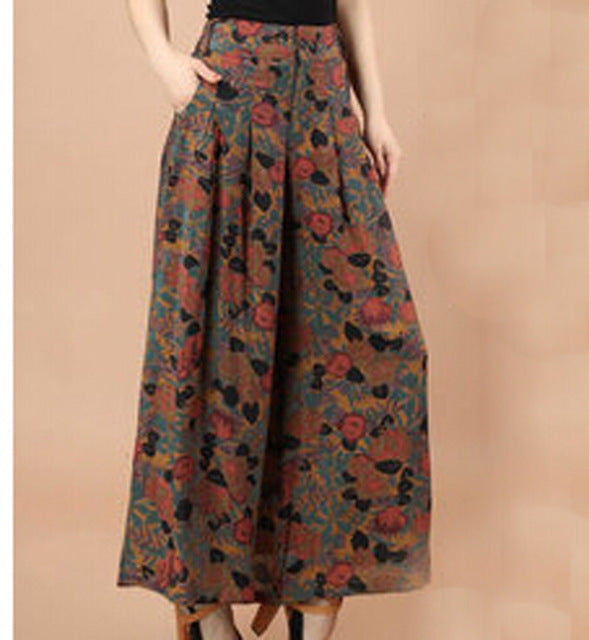 Summer Women Print Flower Pattern Wide Leg Loose Linen Dress Pants