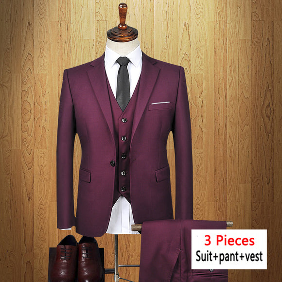 Men suit 3 pieces jacket+pant+vest Business Formal Slim Fit Suits blazer with Pants