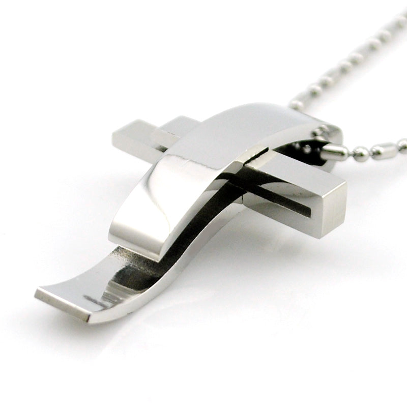 ATGO Cross Stainless Steel Pendant Necklace Men Women Chain Murano Christian Jewelry Christmas Gifts