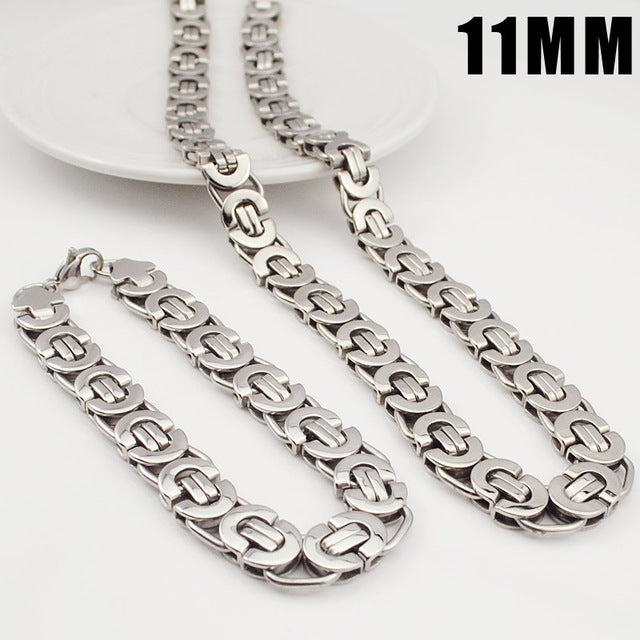 Moorvan Stainless Steel Bracelet Necklace Sets 11mm Width for Women's Men's