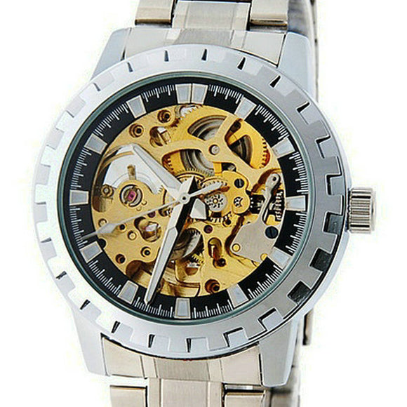 Automatic Mechanical Skeleton Stainless Steel Wrist Watch - Bara Jan Store