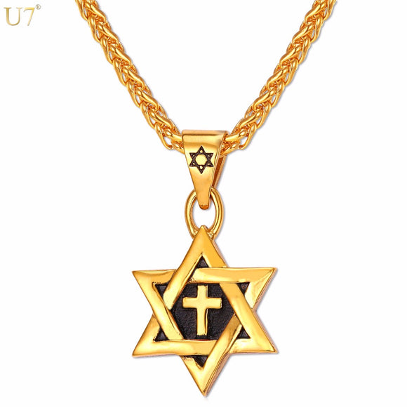 Magen Star of David Cross Pendant & Necklace Gold Color Stainless Steel Women/Men Chain Israel Jewish