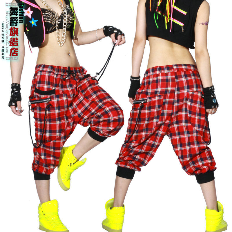 Kids Adult Women dance wear Trousers patchwork ds costume Capris