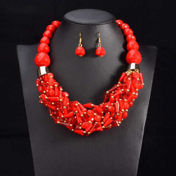 African Beads Jewelry Sets Statement necklace & pendant bib beads handmade jewelry