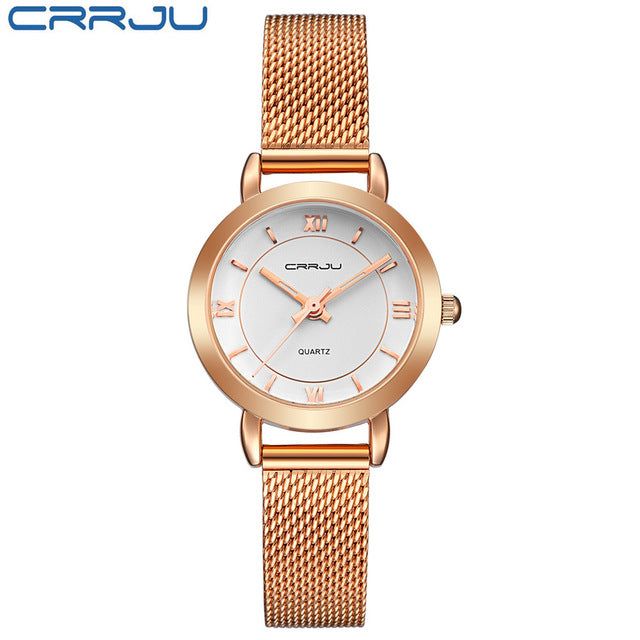Ultrathin Stainless Steel Fashion Quartz Wrist Watch Ladies Elegant Dress Watch Rose gold