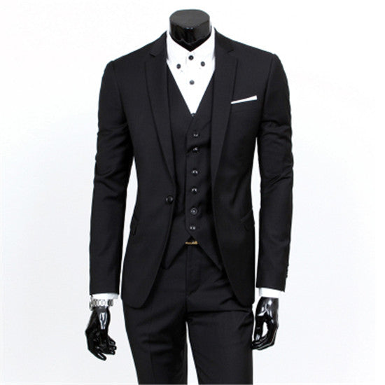 blazers + pants + vest set /Men's fashion three piece suit sets