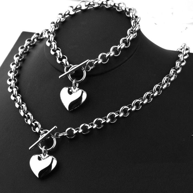 Lovers Pairs 316L Stainless Steel Heart Charm Necklace Bracelet Unisex