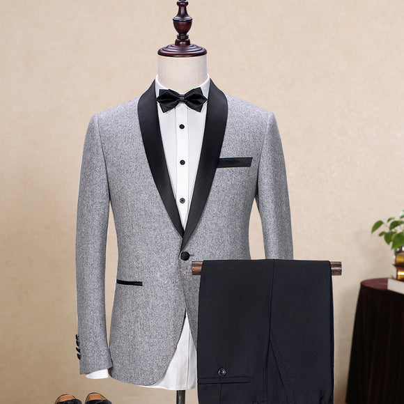 Brand Wool Men's Suits Gray Black Jacket Blazers Slim Fit Male Suit Tuxedos Wedding Jacket+Pants 2 Piece