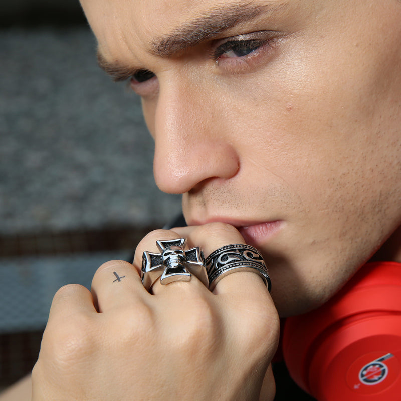 Male Rings in Silver Tone Stainless Steel Hell Rider Iron Cross with Skull Ring