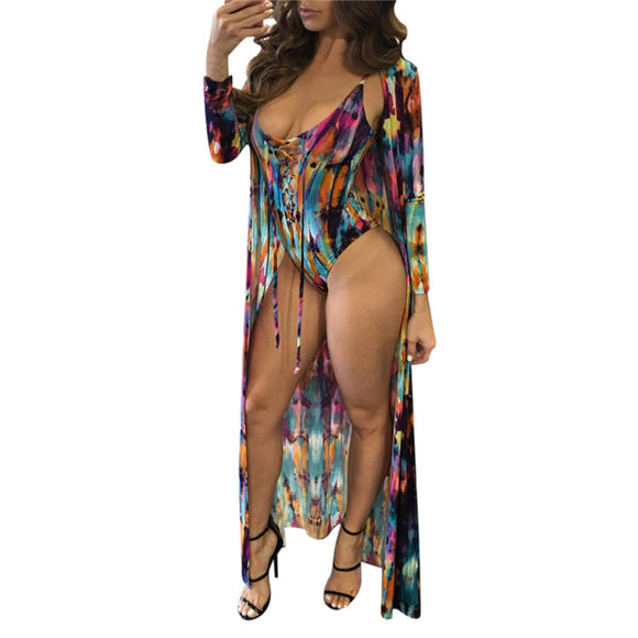 2 PCS Suit One Piece Swimsuit Cover Up Long Dress Printed Beach Cardigan Bathing Suit