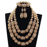 African Coral Beads Bridal Jewelry Set Dubai Gold Women Costume Party Jewelry