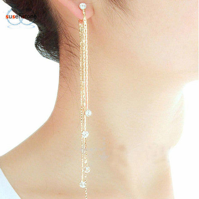Party Cocktail Dangle Long Tassels Hook Drop Shiny Linear Earrings