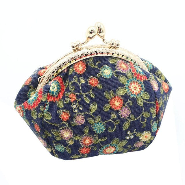 Lady Retro Vintage Flower Cotton Fabirc Small Wallet Hasp Purse - Bara Jan Store