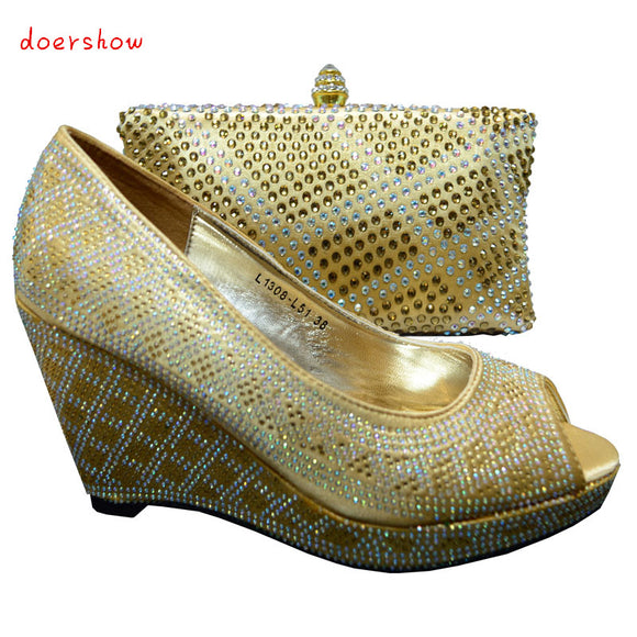 Women shoes and bag set with rhinestones italian shoes with matching bags high quality pumps shoes