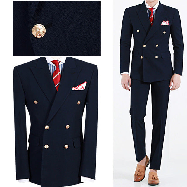 Latest Design Hot Selling Fashion Terno Masculino Navy Blue Peaked Lapel Double 2 Pieces(Jacket+Pant)