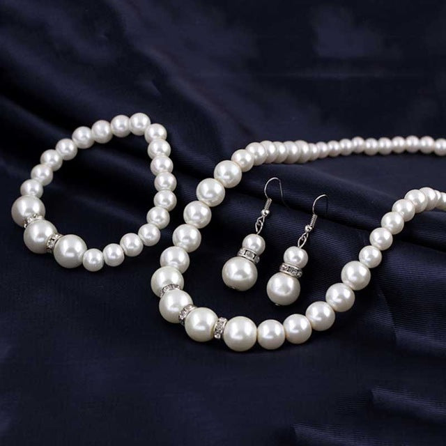 Simulated-Pearl Necklace Bracelet Earrings Women Jewelry Sets Inlay CZ Bride Set