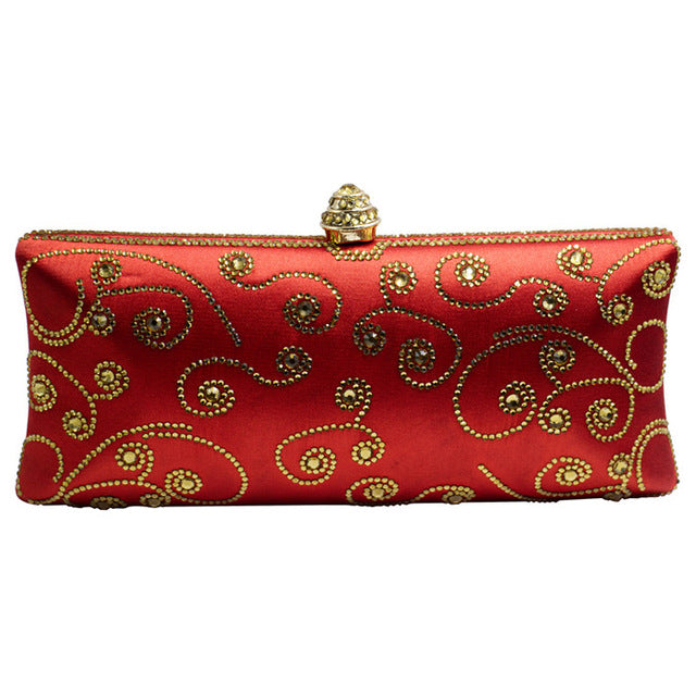Italian Red Clutch Wallet Purse Evening Clutch Bags for Womens Party Wedding Bridal Crystal Evening Bags
