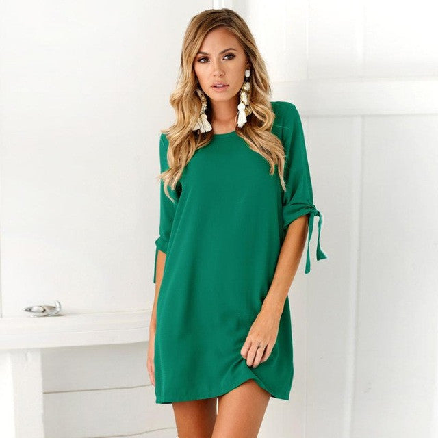 Sexy Solid Bowknot Sleeves Cocktail Mini Dress - Bara Jan Store