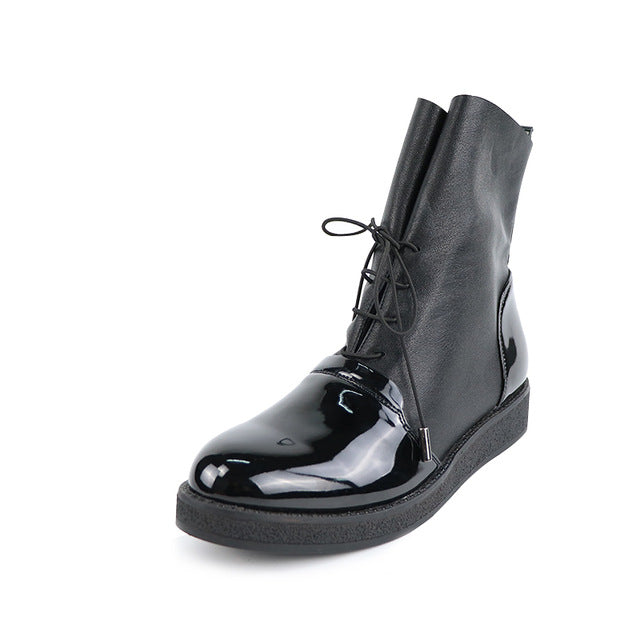 Women Sexy Ankle Boots Female Fashion Patent PU Leather Platform Woman Shoes