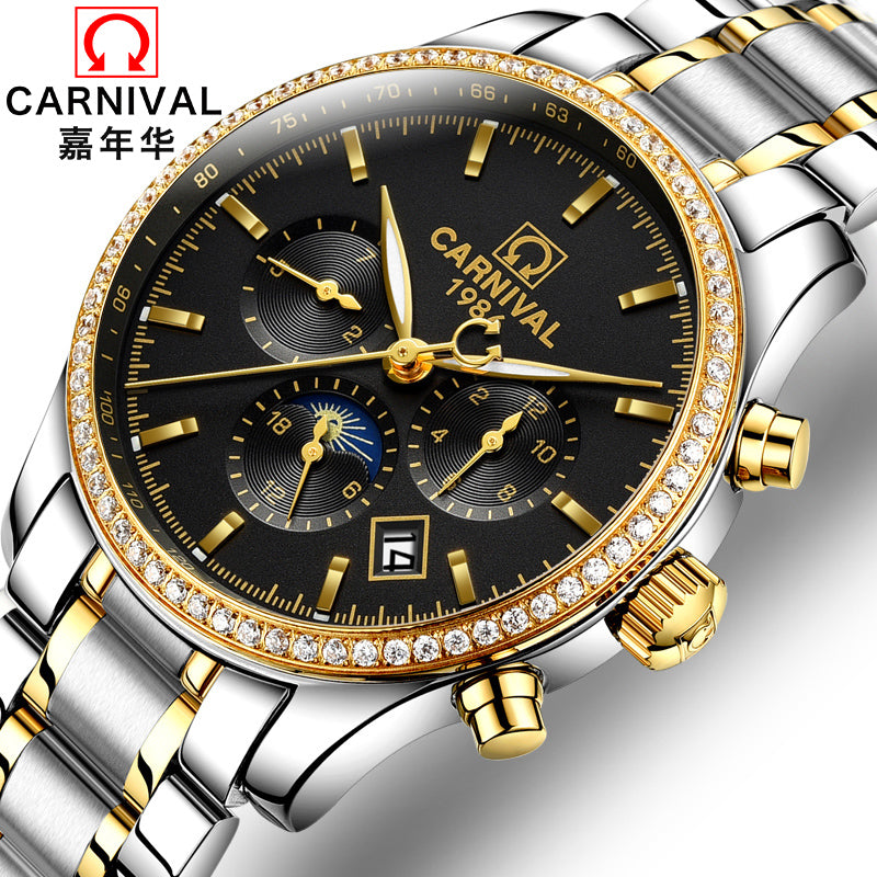 Real Genuine Carnival Men Watch Automatic Mechanical Stainless Steel Mens Diamond Waterproof Luminous Function