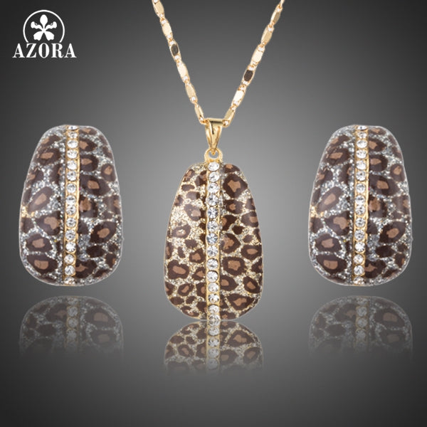 Gold Color Leopard With Stellux Austrian Crystal Clip Earrings and Pendant Necklace Jewelry Sets