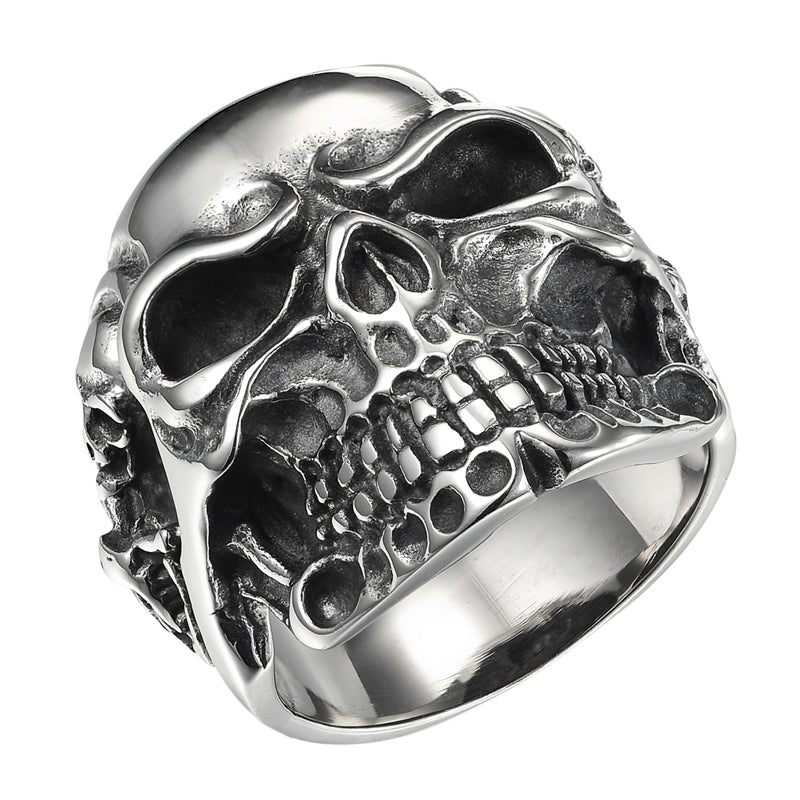 Punk 316L Stainless Steel Rings Viking Skull Skeleton Men Ring