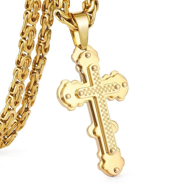 Jesus Cross Pendant Necklace Stainless Steel Men