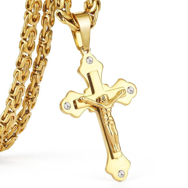 Stainless Steel Gold Color Crystal Jesus Cross Pendant Necklaces 6mm Heavy Link