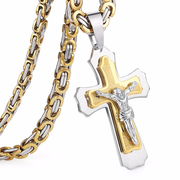 Multilayer Cross Christ Jesus Pendant Necklace Stainless Steel Link Byzantine Chain Heavy Men